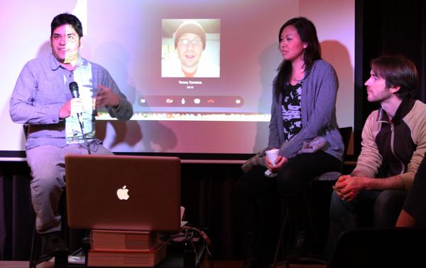 Mario Contreras, Tim Tamisea (skyped,) Thavary Krouch and moderator, Joel McGinty