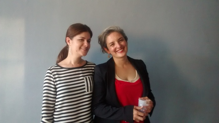 Karen Azarnia (Curator) and Paola Cabal (artist in residence)