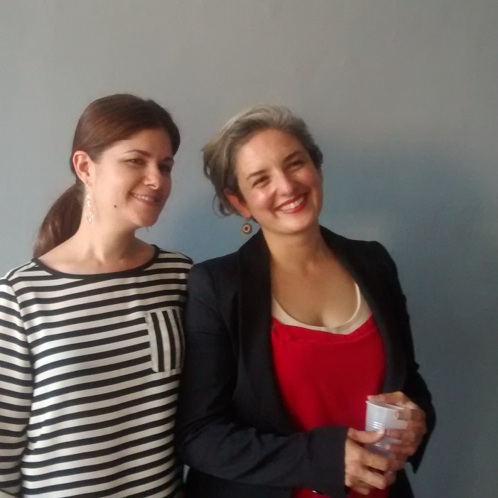 Karen Azarnia (Curator) and Paola Cabal (artist in residence)